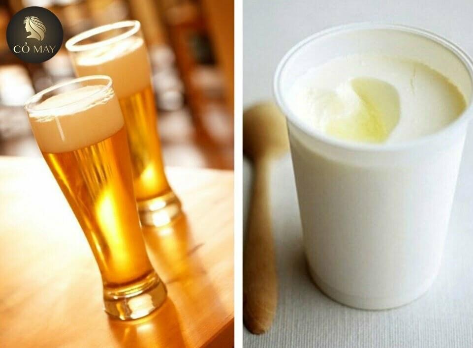 trị gàu với sữa chua và bia